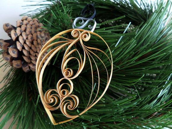 Quilled Paper Holiday Ornament  Gold Quilled by ThePaperyCraftery, $10.00