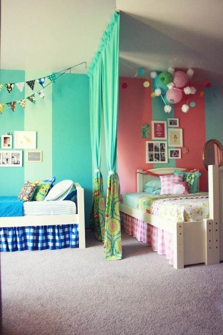 Bedrooms for girls green - Girls Room Paint Ideas With Green Curtain Divider And White Wooden Bed On Rug Painted