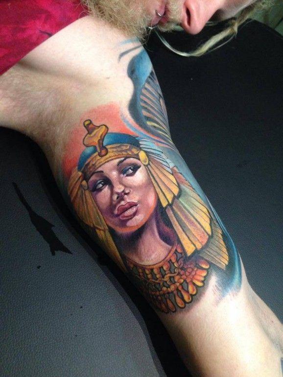 Coloured egyptian queen tattoo by Fabian de Gaillande