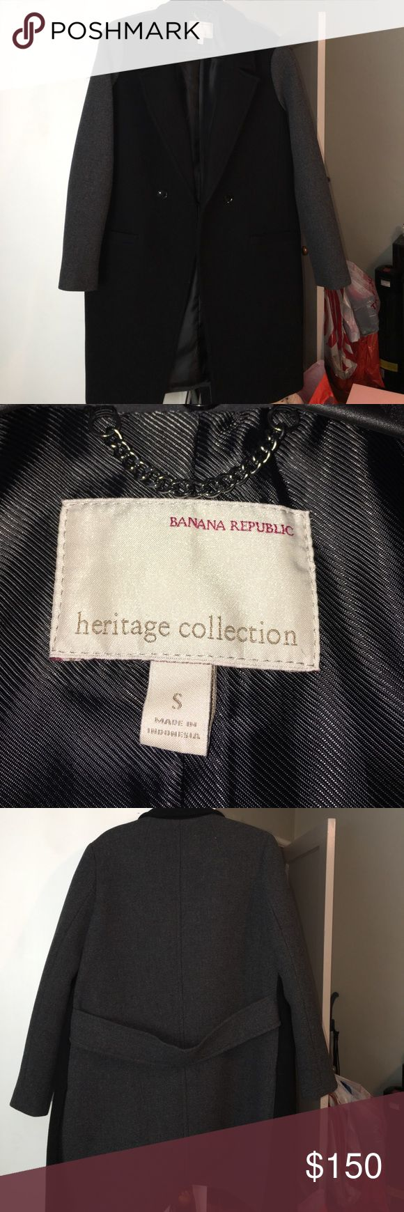 Brand new Banana Republic Heritage collection Cute coat for sale NWOT comes with coat bag. Runs really big. (Oversized) I'm usually a M-L. This is a size small but will fit a true L-XL.  Also comes with a removable faux fur collar. :) Banana Republic Jackets & Coats Pea Coats