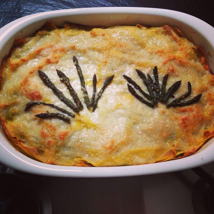 Lasagne asparagi e salmone con besciamella vegan