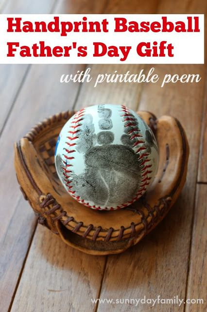A sweet twist on a handprint Father's Day gift for baseball loving dads. Includes a free printable poem!