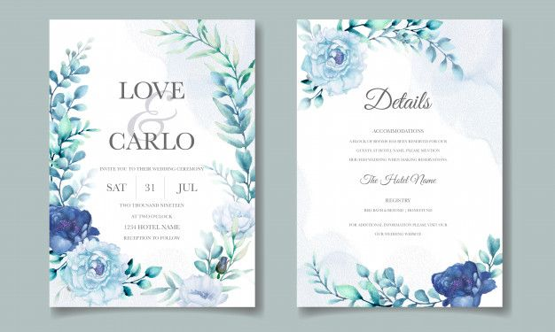 Wedding Invitation Card With Blue Watercolor Floral Elegant Wedding Invitation Card Wedding Invitations Flower Wedding Invitation