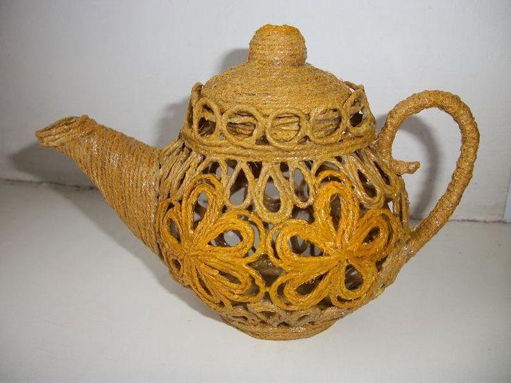 Чайник из джутового шпагата