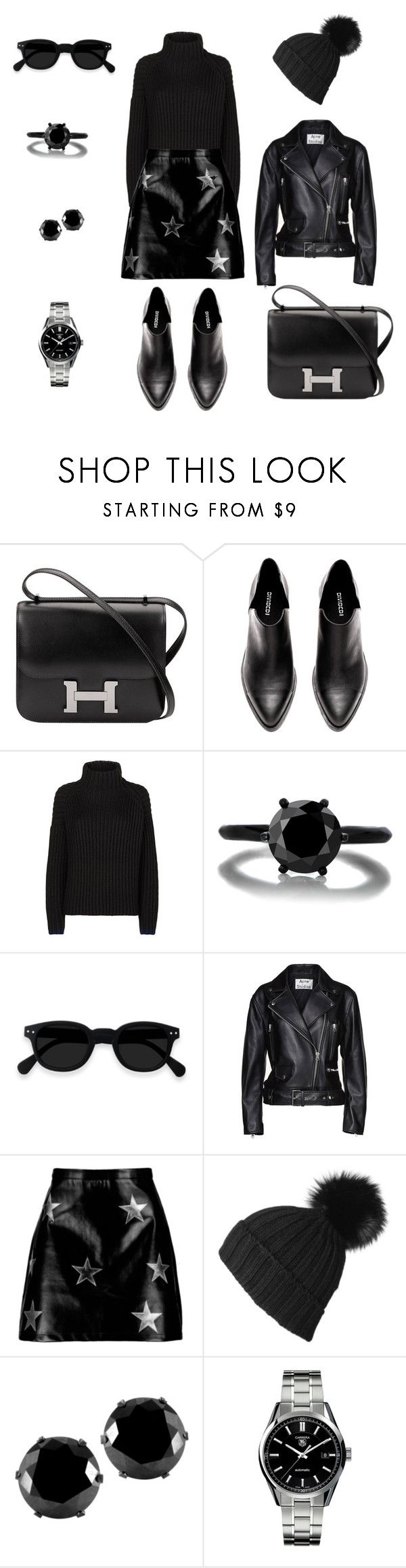 """""""Untitled #121"""" by artemissharafi ❤ liked on Polyvore featuring Hermès, Victoria, Victoria Beckham, Acne Studios, Boohoo, Black, West Coast Jewelry and TAG Heuer"""