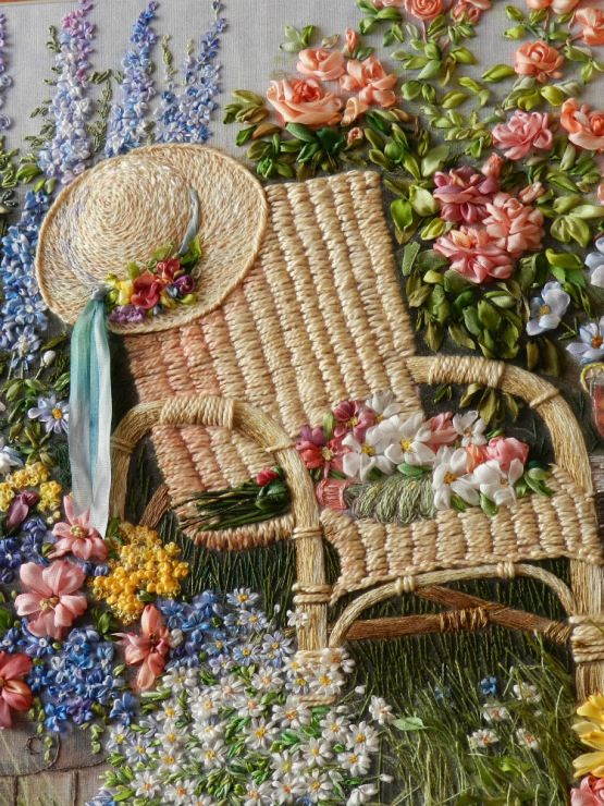 ♒ Enchanting Embroidery ♒  embroidered garden flowers and chair