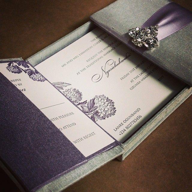 Our Laura Hydrangea Design Set On A Beautiful Fabric Invitation Box Lavender