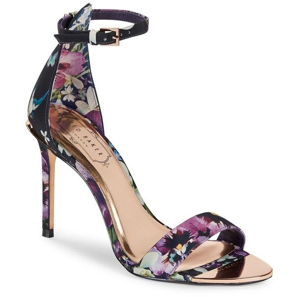 Ted Baker London Charv Floral Heeled Sandals ($180) ❤ liked on Polyvore featuring shoes, sandals, entangled pink, ankle strap sandals, pink shoes, ankle wrap sandals, open toe heel sandals and floral high heel sandals