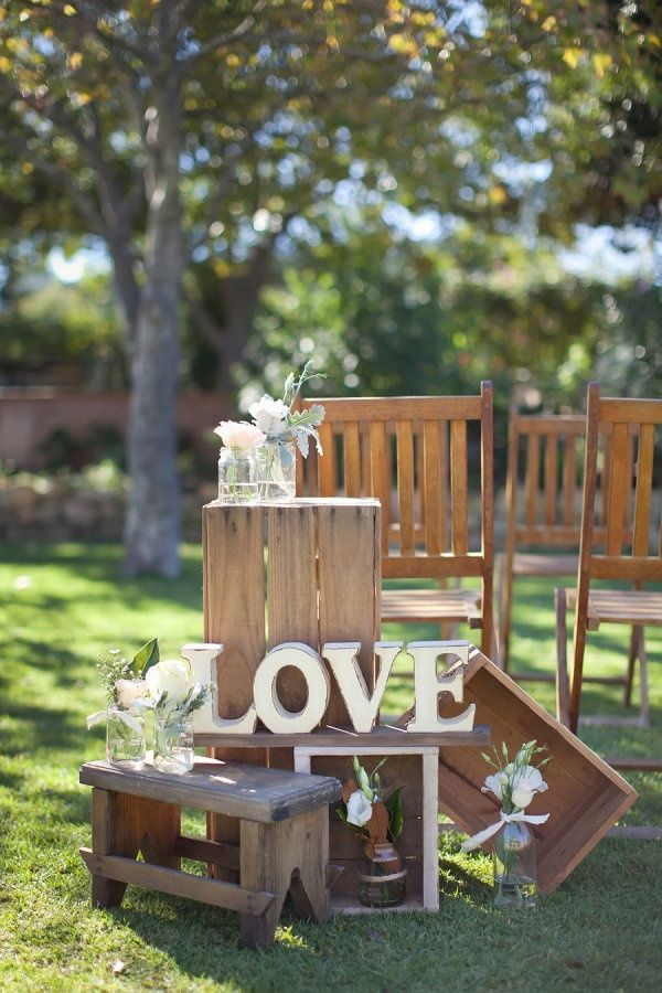 rustic country wedding decor ideas with LOVE letter / http://www.deerpearlflowers.com/35-awesome-love-letters-wedding-decor-ideas/
