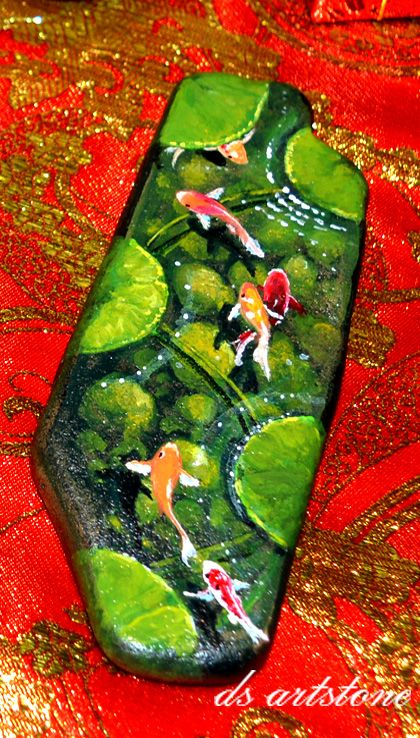 15 best images about rock painting slate on pinterest for Koi fish pond rocks