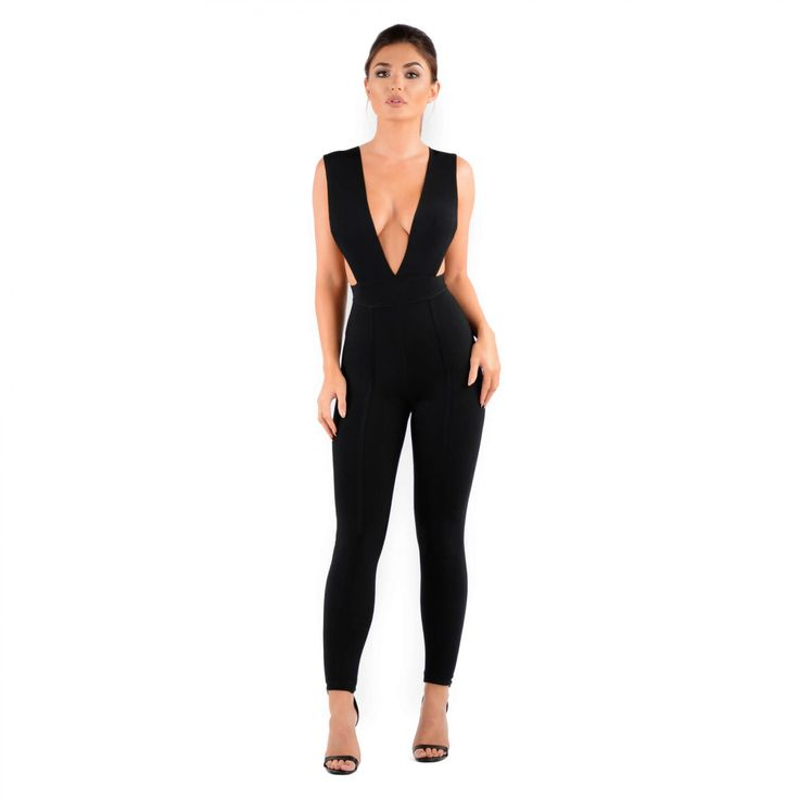 Black Bandage Jumpsuit | Sexy Bodycon Jumpsuit | Oh Polly
