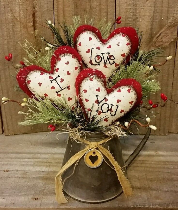 "Primitive Handmade Winter Christmas 9"" Valentine I Love You Hearts Decoration  | eBay"