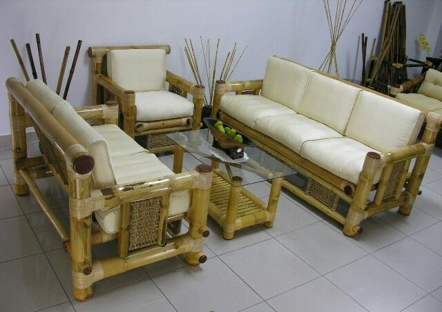 Cozy Living Room Interior Design Ideas With Beige Bamboo Sofa Furniture Set Using White Fabric Cover S Bamboo Furniture Design Bamboo Sofa Bamboo Furniture Diy
