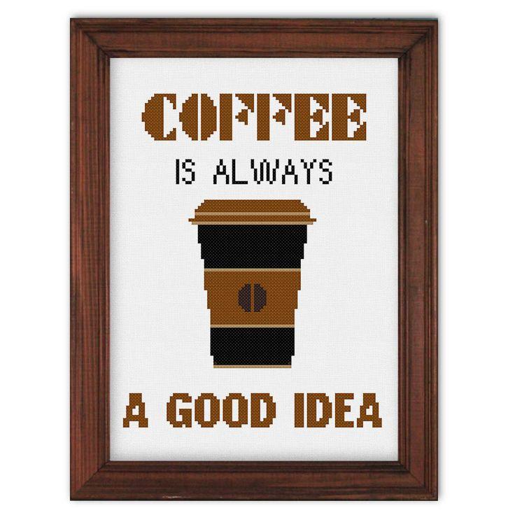 Coffee cross stitch pattern, modern cross stitch pattern, quote cross stitch…