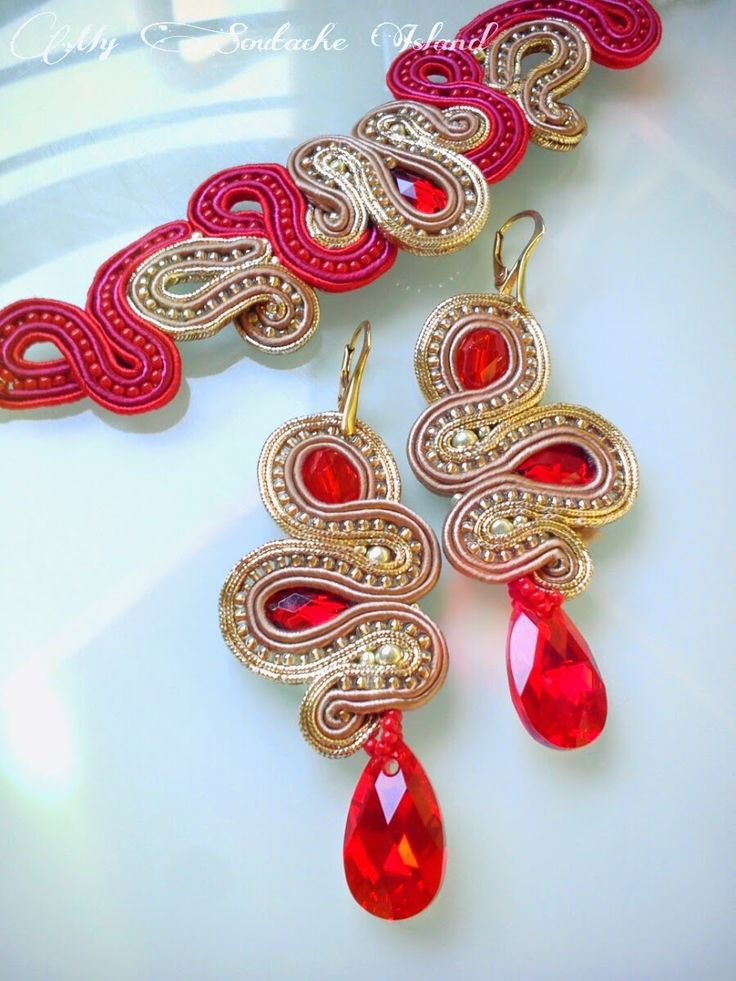 Taupe & red soutache set, earrings, bracelet, Swarovski - Light Siam