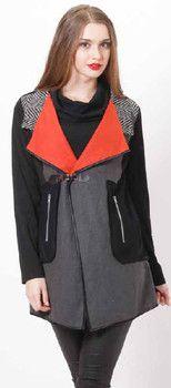 Black & Grey with Orange Collar Flaps Jacket - Winter 2015 Collection - HOLMES & FALLON