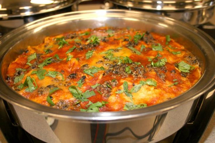 Easy Enchilada Casserole  Can use ground beef in place of Smart Ground crumbles and regular cheese.