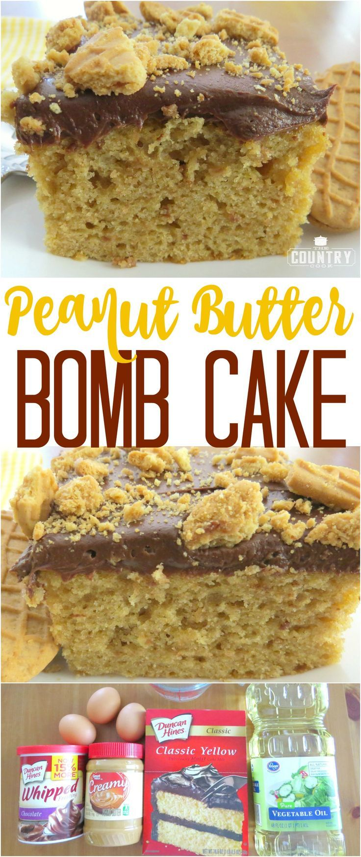 Peanut Butter Bomb Cake recipe from The Country Cook