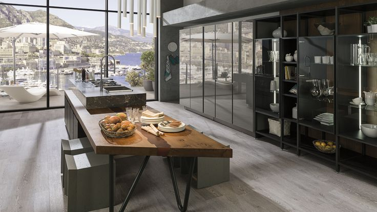 Gamadecor updated the traditional kitchen concept with its latest Emotions model Porcelanosa Kitchens