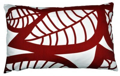 Mairo red Hosta cushion cover. Designed by Linda Svensson Edevint.