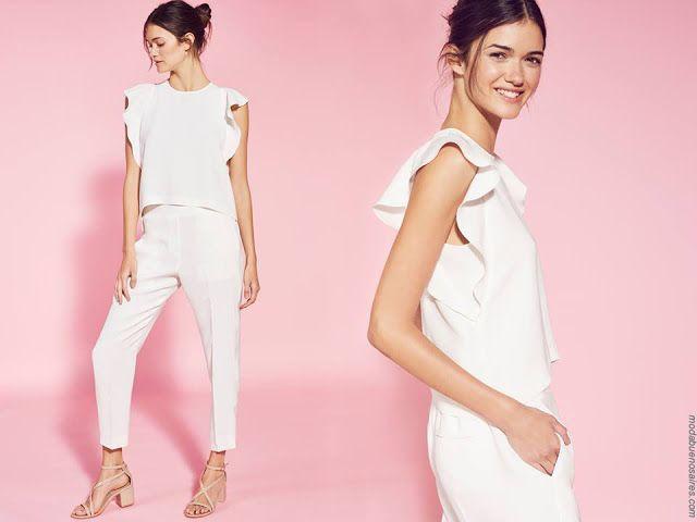 Blusas de moda primavera verano 2018. Moda mujer verano 2018. #Blanco #looks #estilo #modaverano