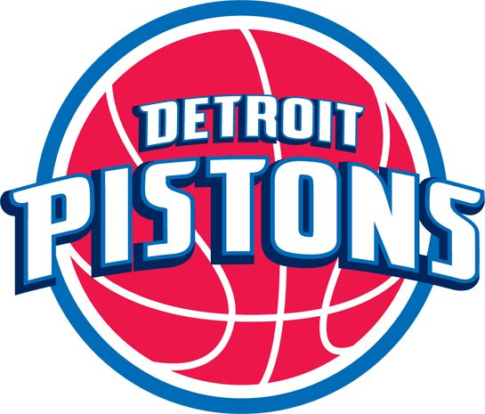Detroit Pistons Primary Logo (2006) - 'Detroit Pistons' in white with blue outline on a red ball