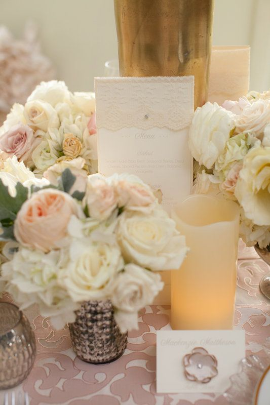 www.intrigue-designs.com Mercury Glass and Juliet English Garden Roses accenting the invitation and placecard Kirkland Manor was a perfect backdrop for this Chesapeake wedding set on the Eastern Shore.  The soft tones of pale blush, champagne and golds created a romantic setting.  Blooms include Hydrangea, Roses, English Garden Roses, Phaleonopsis Orchids, tulips and eucalyptus.   The custom chairs and detailed accents added to the romantic style with a vintage tone.  Photo: @Liz Mester and…