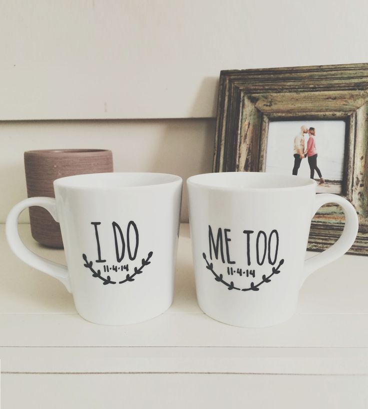 Custom Wedding Painted Coffee Mugs Gift Set | A lovely gift for a pair of newlyweds, these hand-painted mugs... | Mugs