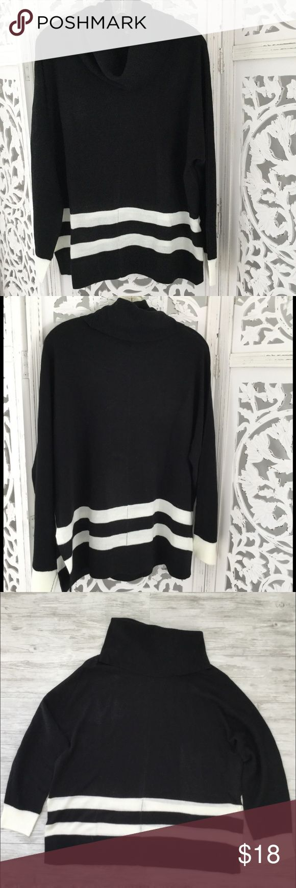 """Wendy Williams Black & White Striped Sweater - L Black & White cowl neck sweater has 2 white stripes at bottom and white sleeve cuff. Has sewn center seams at front, back & sides., 8"""" side slits. Length from back neck seam 26"""". Approx. bust circumference laying flat 48"""".  100% acrylic. Hand wash cold. Lay flat to dry. Size L. Purchased from Home Shopping Network (HSN). The Wendy Williams Collection.  NWOT. Wendy Williams Sweaters Cowl & Turtlenecks"""