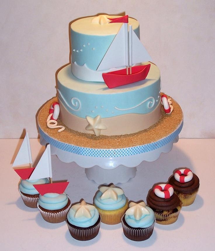 Sailboat Cake and Cupcakes