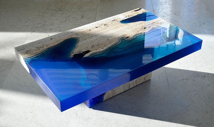 Lagoon Tables Created By Merging Resin With Cut Travertine Marble #trends #furniture #marble http://trendssoul.blogspot.com.tr/2016/01/lagoon-tables-created-by-merging-resin.html