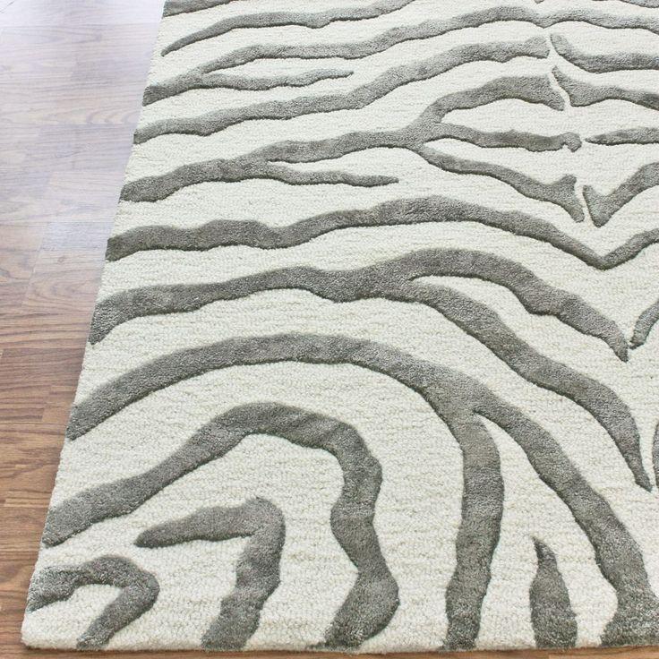 Safari Contemporary Zebra Print with Faux Silk Highlights Grey Rug | Contemporary Rugs
