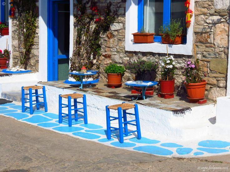 Coffee time on the promenade of Limenaria, Thassos Island