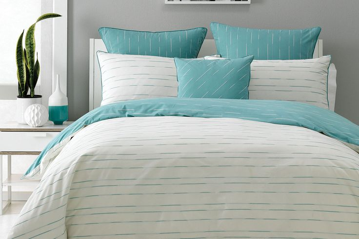 Beck Aqua Duvet Cover Set by Nu Edition lets you choose. Two looks one cover, so whether you are feeling calm and subdued, or a little more bold, Beck is sure to reflect your mood.