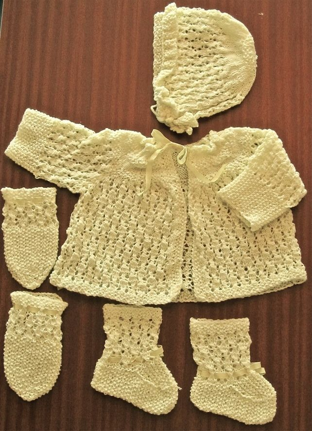 yellow Hand Knitted Baby Cardigans Newborn Jumpers & Cardigans Clothes, Shoes & Accessories