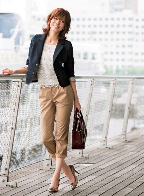 紺ブレ×チノの王道トラッドはタッセル靴で完璧   ファッション コーディネート   with online on ウーマンエキサイト