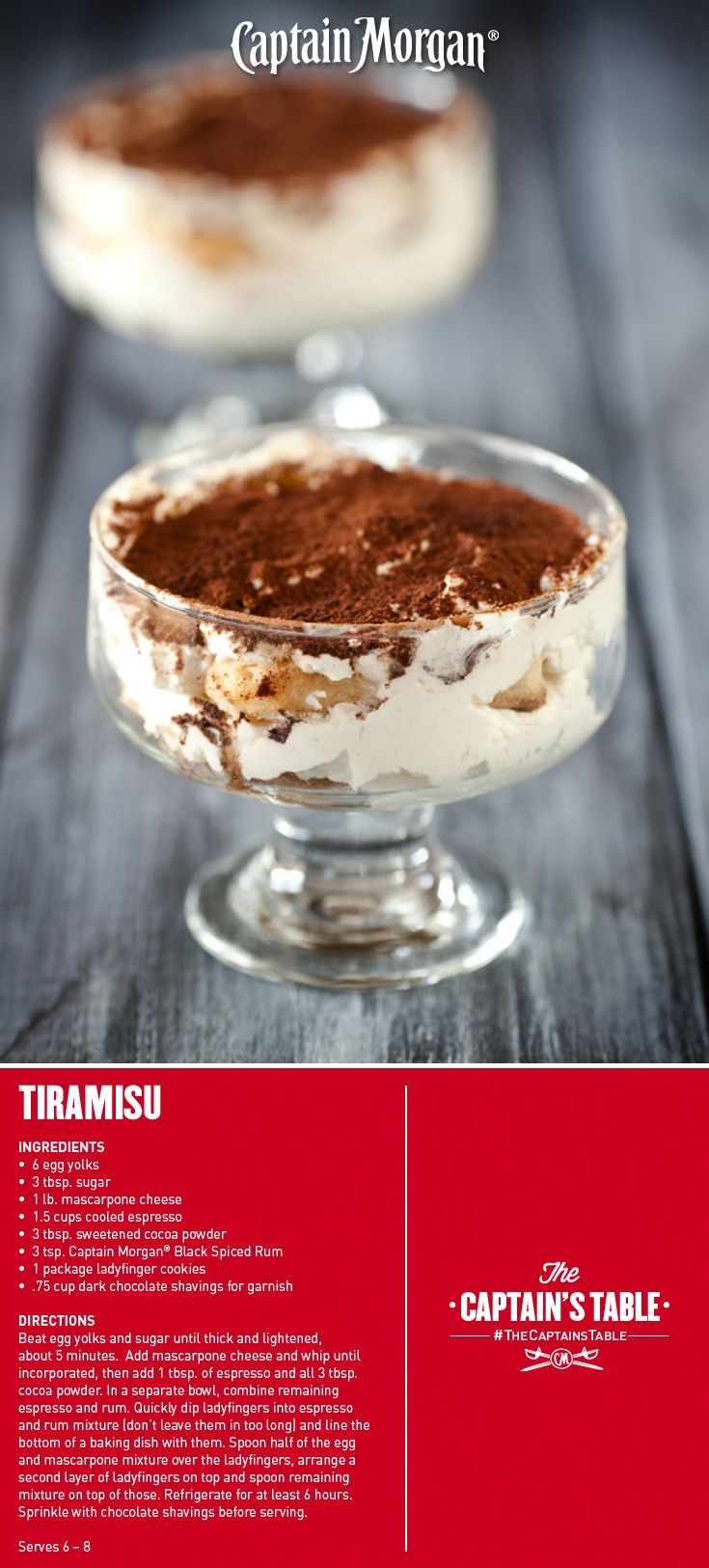 Dreaming of a trip to Italy? One bite of this sophisticated dessert will take you there! #Captain #Morgan #rum #tiramisu #recipe #CaptainsTable