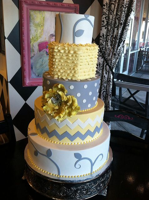 Yellow and grey wedding cake by Designer Cakes By April, via Flickr
