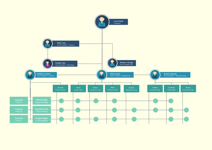 Matrix organizational structure with many reporting lines