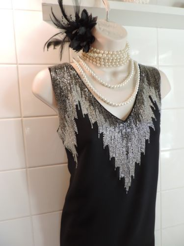 H-amp-M-14-Vintage-1920-039-s-Silver-Bead-Art-Deco-Flapper-Charleston-Gatsby-Tunic-DRESS