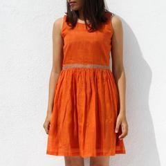 Handwoven Ilkal Cotton Orange Short Dress - S