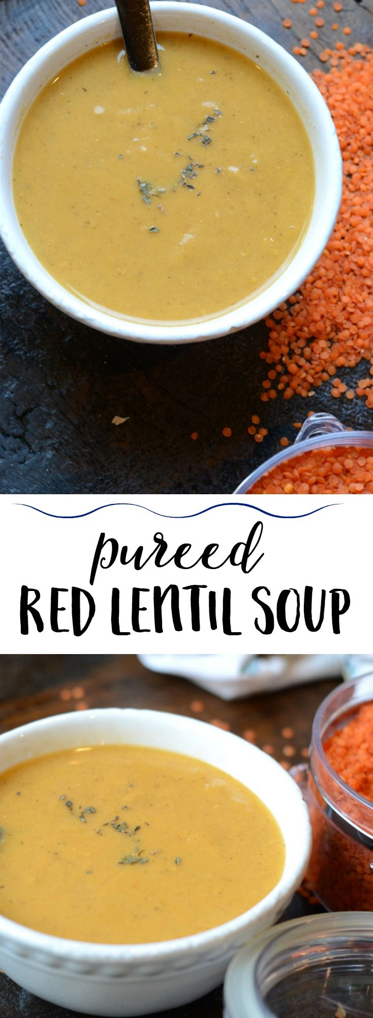 Simply delicious pureed red lentil soup. Hearty and nutritious. #lentilsoup #vegetablesoup #meatlessmonday #comfortfood #souprecipes #lentilrecipe