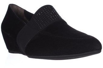 Paul Green Dazzle Studded Wedge Loafers, Black Suede.