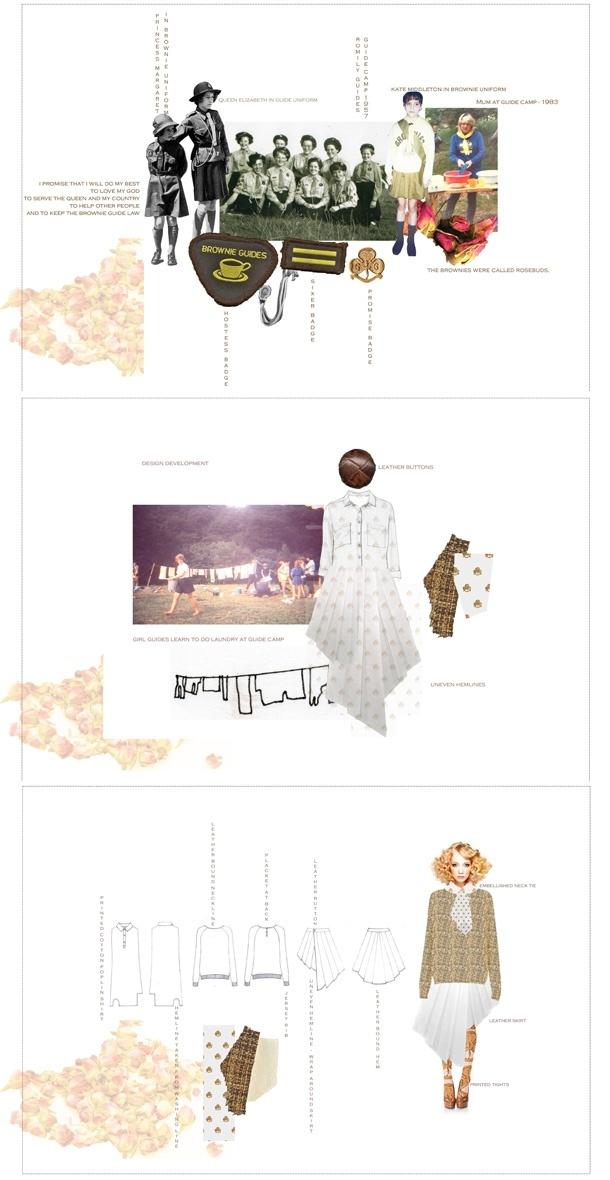 Fashion Portfolio - fashion design inspired by vintage girl guide outfits - fashion illustration; fashion sketchbook // Hannah Bellamy
