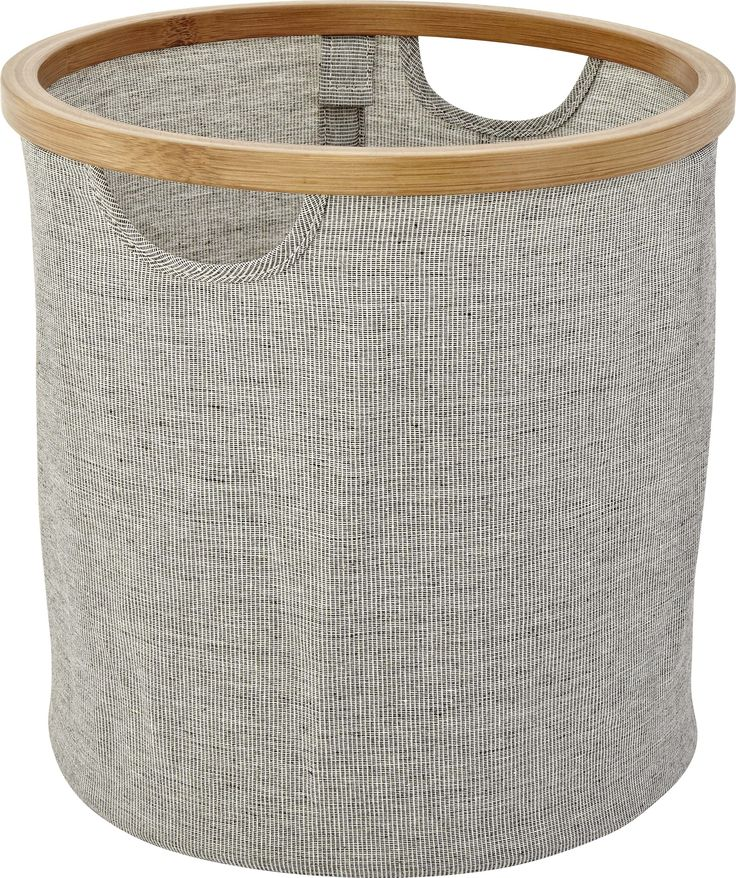 Barnabe oppbevaringsenhet i bambus og vevd polyester. Dimensjoner: H30.6cm. Kr. 150,-