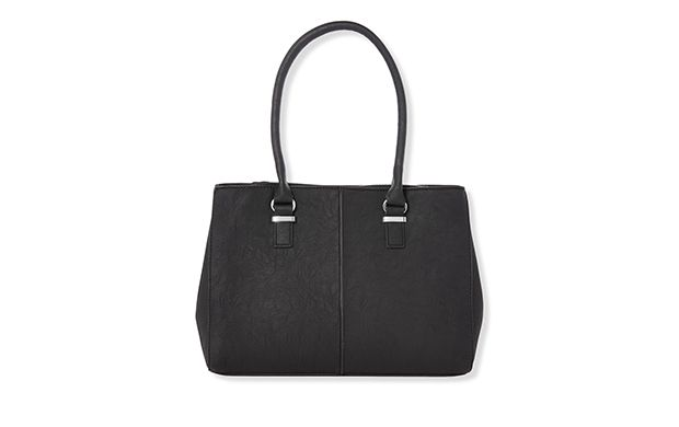 "Black Classic Shoulder Bag. ""In timeless black, this simple shoulder bag is smart enough to wear to work."""
