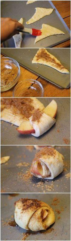 とにかく時間がない!でも何か持っていかなくてはいけないときには、数で勝負!  【ひとくちアップル・パイ】 パイシートを適当に切り、シナモンを振って、リンゴを中に入れてクロワッサンの様に巻く。  多少不恰好でも、小さめに数をたくさん作れば、見た目はカバー!手作りパイの完成!
