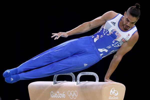 Louis Smith of Great Britain competes in the Men's Pommel Horse Final on Day 9 of the Rio 2016 Olympic Games at the Rio Olympic Arena on August 14, 2016 in Rio de Janeiro, Brazil