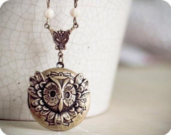 Antique brass Owl locket