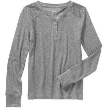 Faded Glory Girls' Long Sleeve Henley Tee with Lace, Gray